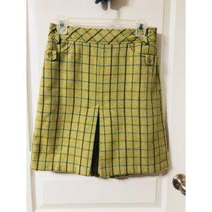 LOFT Green Plaid Skirt